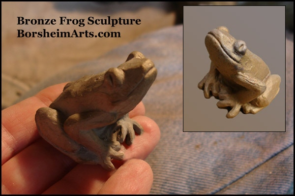 $250 Reward:  Small Bronze Sitting Frog Sculpture [how he looks before patina]