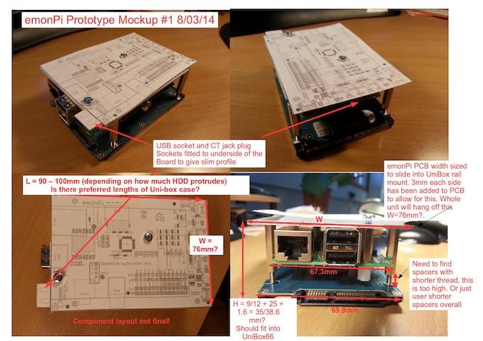 Early emonPi prototype mockup