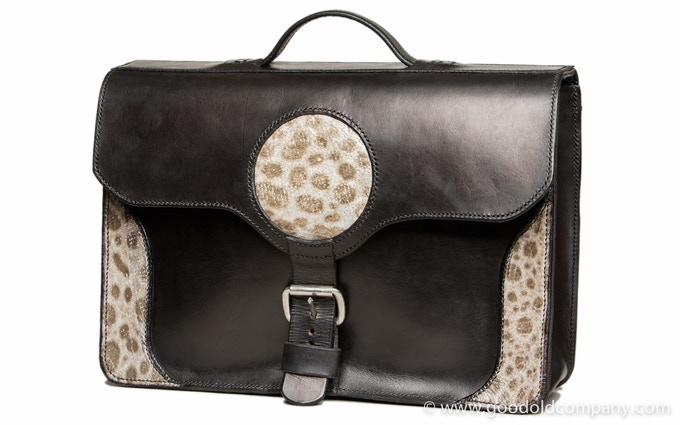 Big leather briefcase with wolffish decoration