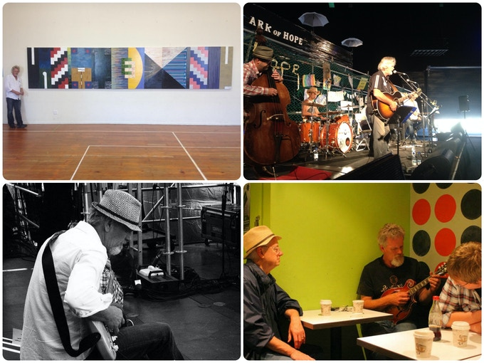 My 2015 commisioned installation (top left).  Playing with Steve, Guy, Vern, Dave, AJ, & Mike in Jan 2015 (T.R).  Coffee with Glenn Ross Campbell & Brett Wilson (BR).  (photo credit; Vern Rive)