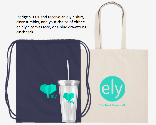 Backers who pledge $100 or more can choose between an ely™ canvas tote bag, or an ely™ drawstring cinchbag in navy blue. Both bags include an ely™ clear acrylic tumbler, and the ely™ shirt of your choosing. Limited quantities available, get yours today!