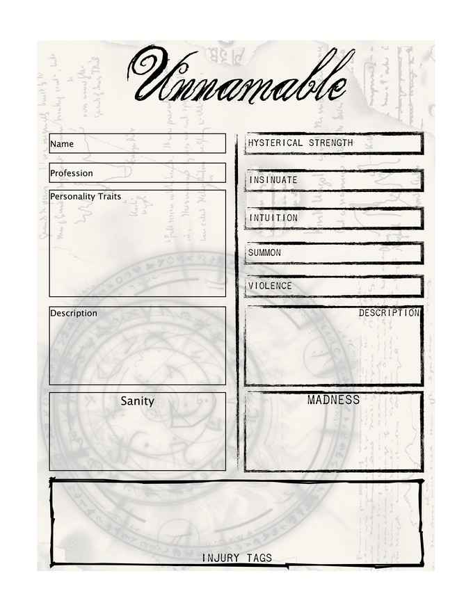 Unnamable Character Sheet