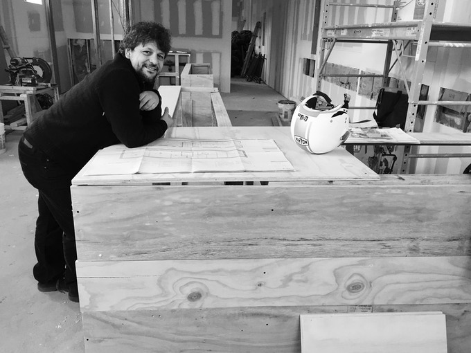 My skilled architect, Alberto, with the beginnings of our bar!