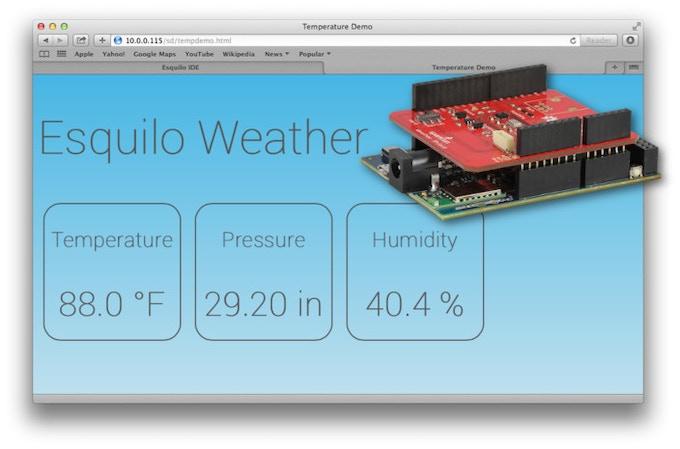 Weather demo in a Safari browser