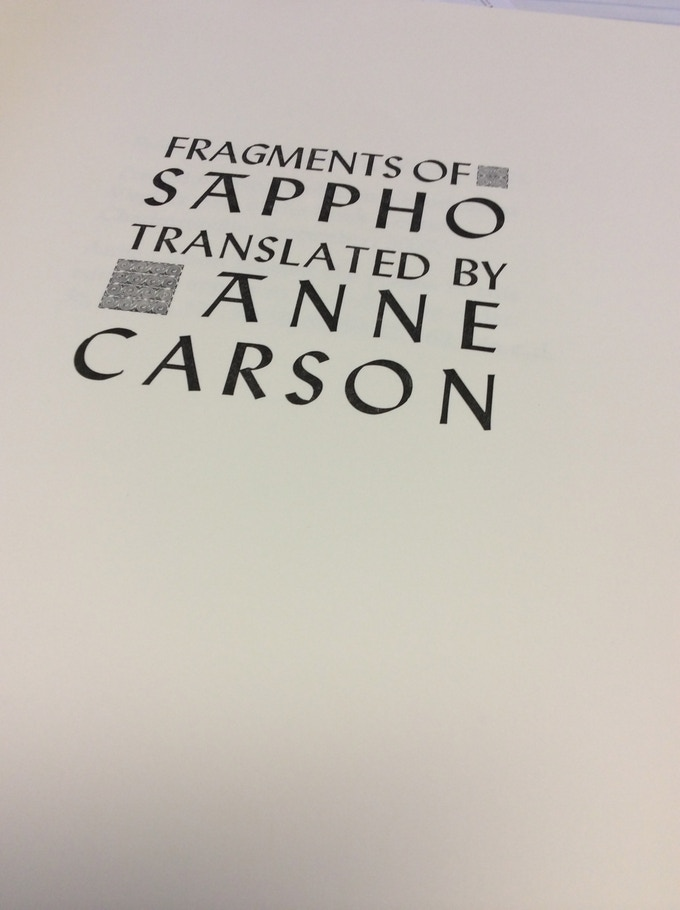 Translations of Sappho by Anne Carson