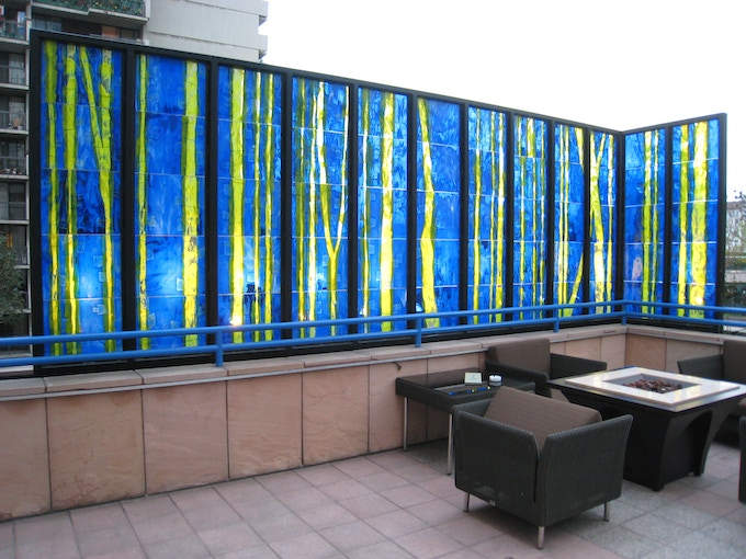Omni Hotel, Los Angeles. This installation was comprised of more than 305 square feet of fused glass panels (110 In total).  A glass bamboo forest was the original vision.