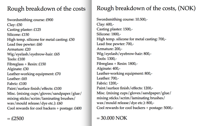 material breakdown in GBP and NOK