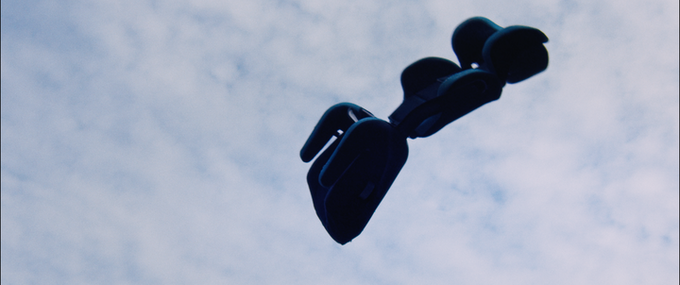 captured on film - the carseat flies through the air