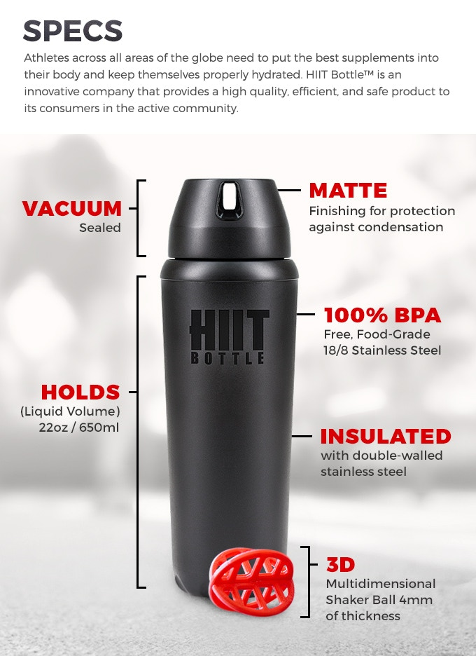 The HIIT Bottle™ is currently patent pending (Utility & Design)