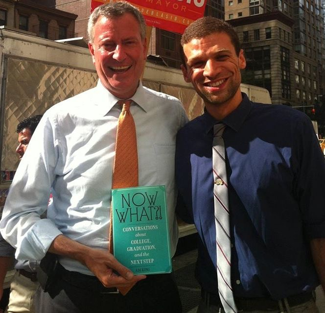 NYC Mayor Bill DeBlasio with his copy of 'Now What?!'