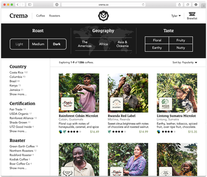 Explore single-origin coffees by roast, geography, taste, and much more.