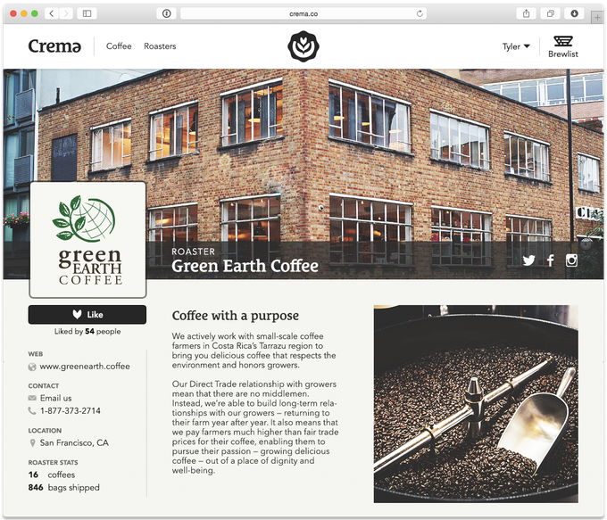 View the profiles of your favorite coffee roasters, and discover new ones.