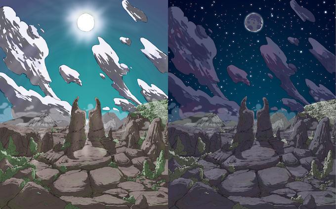 Sun and Moon gods concept art