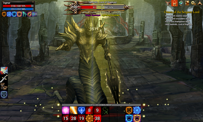 A Cleric squares off against Sentoth, the Lord of Rapture.