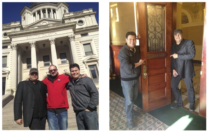 Left Image: producer/director Bryan H. Carroll, executive producer Brian Klock, & producer James Walker outside the South Dakota Capitol. Right Picture: James and Bryan at the South Dakota Govenor's Office.