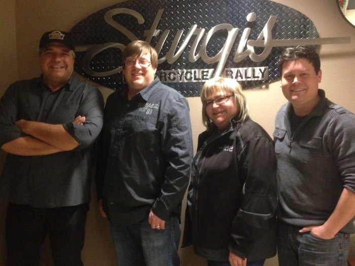 (Left to Right) Bryan H. Carroll, Mark Carstensen (Mayor, City of Sturgis), Brenda Vasknetz (Rally Director, City of Sturgis), & James Walker