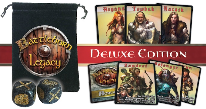 Includes a Dice Bag with Logo, 2 additional super sized Custom Dice and 6 Hero Foil Card upgrades!