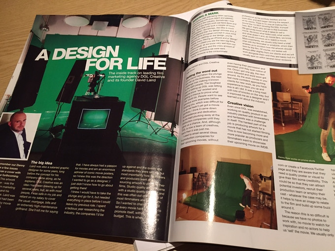 Here's me in a magazine article about my movie graphics