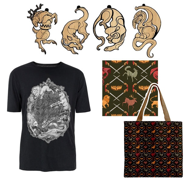 Pendants by Tiffany Le, Shirts with art by Grace Fong and Alice Yang, and Tote Bags by Clare DeZutti