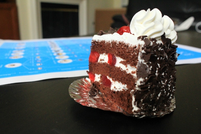 A Slice of Black Forest Cake with Alchemy of Cake BLUE