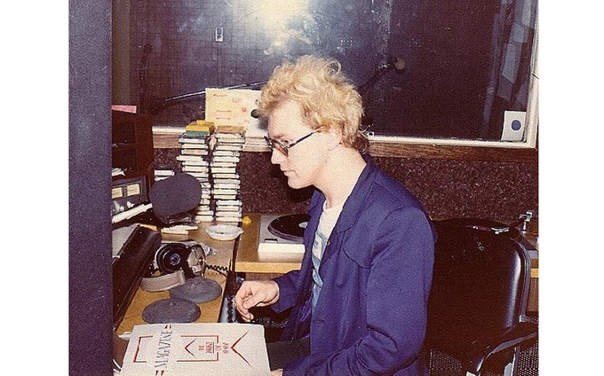 WFMU in 1980, experimenting with hair colour, the New Wave era.