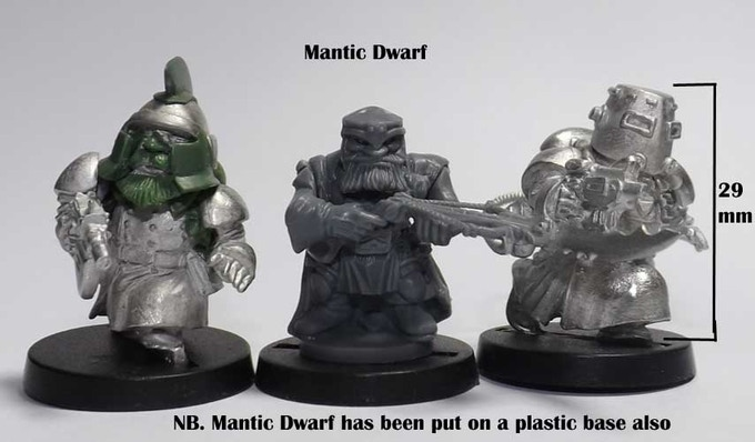 Scrunts alongside a Mantic Dwarf, all are shown on the same black plastic bases.Used for scale comparison only no infrindgement of copyright intended