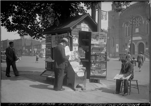 Newsstand at St. Andrews and Spadina, City of Toronto Archives, 1938.