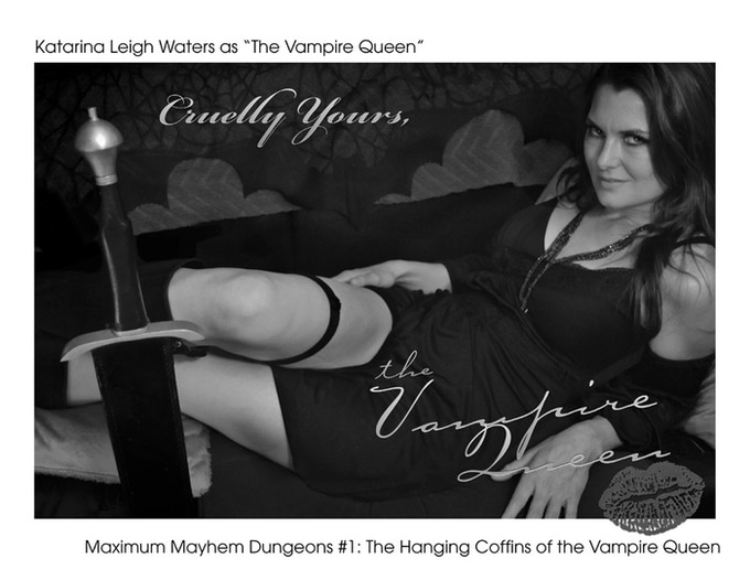 """Actress and Pro WWE wrestler """"Winter"""" a.k.a Katarina Waters as """"The Vampire Queen."""" Coffins print order """"Add Ons"""" to this KS will recieve this reward as well. PDF Add ons get the Digital File of this photo."""