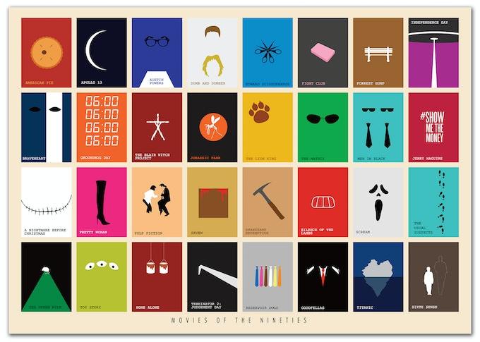 Movies of the Nineties Art Print