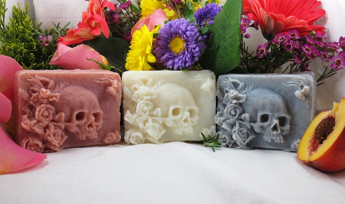 Vanitas soap, Left to Right: Roseclove, Unscented, Lavender Musk