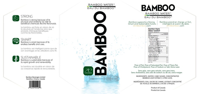 Bamboo Water bottle label