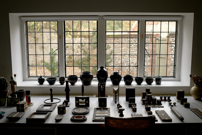 Roger Ackling's final works laid out in his studio at Voewood