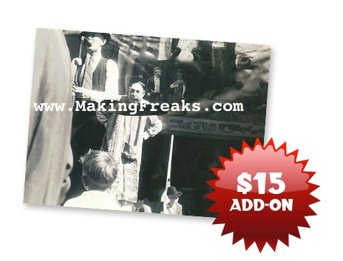 $15 ADD-ON: A RARE look at Schlitze on the midway circa 1952 in this candid 5x7 glossy digital photo print! We look at Schlitze's face and can't help but wonder what he was thinking.