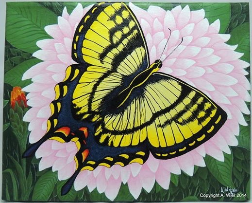 "Butterfly in the Bush - 8"" x 10"" Original Panting"