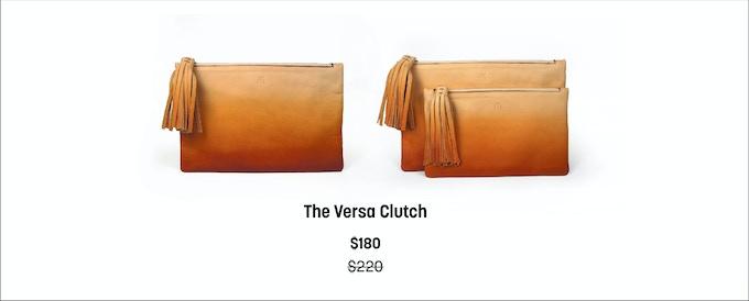 "The Versa Clutch: 12.5"" wide x 8"" tall,  The Mini Versa Clutch: 10.5"" wide x 6.5"" tall"
