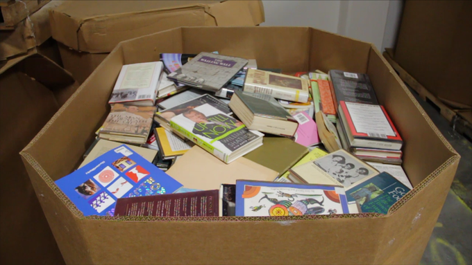 Just one of of 80 boxes we received from the Internet Archive. Each box holds about 700 books.
