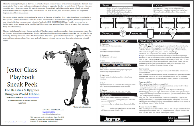 Click here to download the Jester Class Playbook for Dungeon World