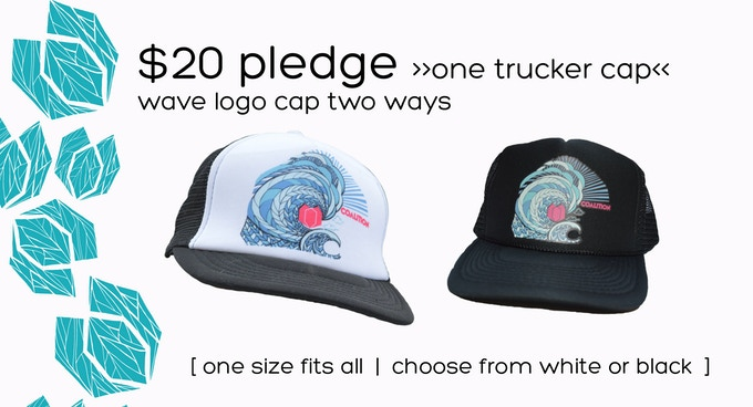 $20 Pledge     Wave Trucker Hat     Printed in South Lake Tahoe by Rise Designs