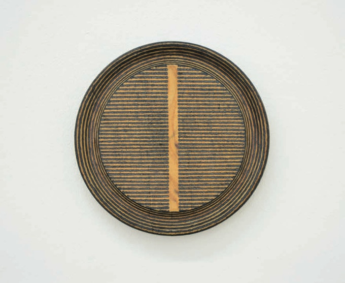 Roger Ackling, Voewood (2013) sunlight on wood