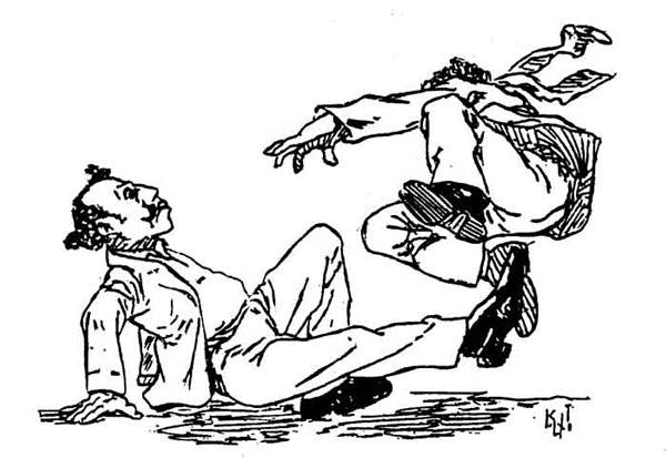 "Gang members brawling -- ""O corta capim"" by Kalixto, 1906"