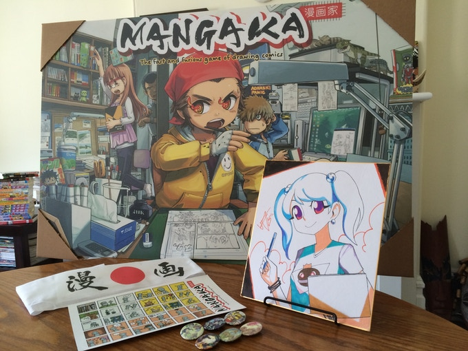 Backer Rewards: Full-size poster, shikishi, stickers, buttons & hachimaki