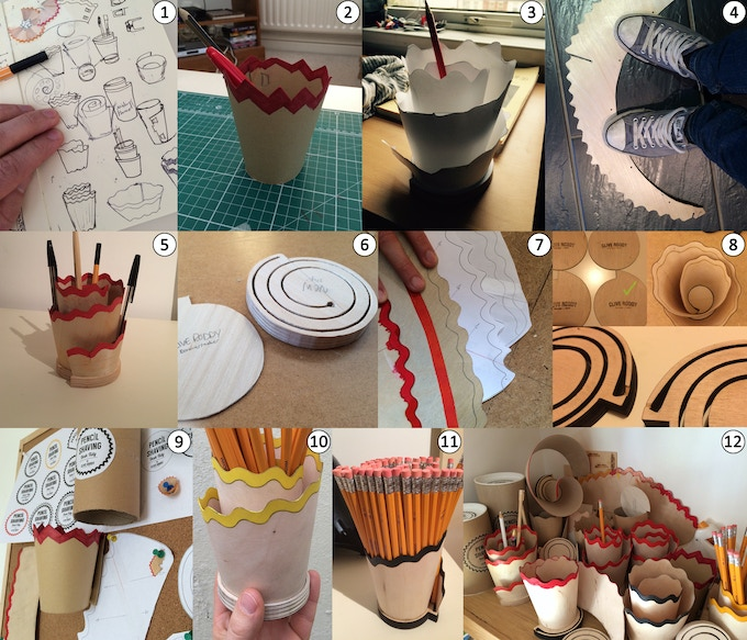 A selection of images from the development process (key and explanation below).