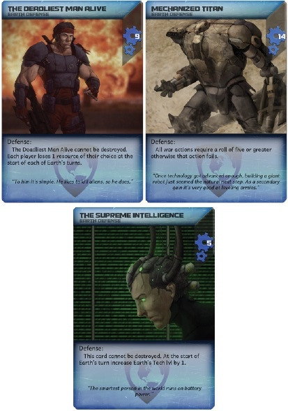 Example Earth Defense Cards
