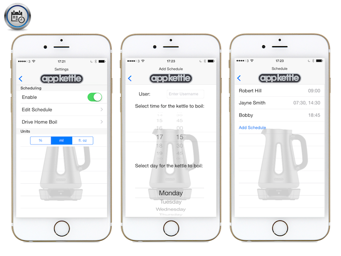 True kettle scheduling, not just a notification alarm. Set times and beverage preferences to suit you