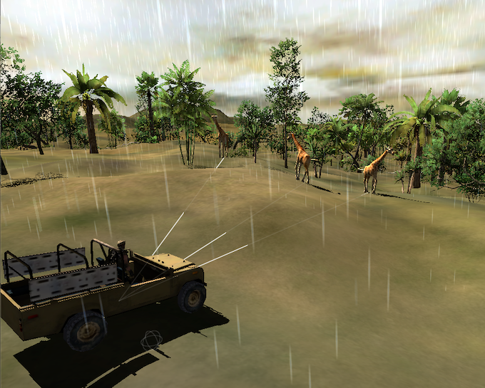 Early stage environment rendering of rain and jungle.