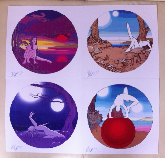 "Set of Four 11"" x 11"" Side Effects positive prints signed by Curvey"