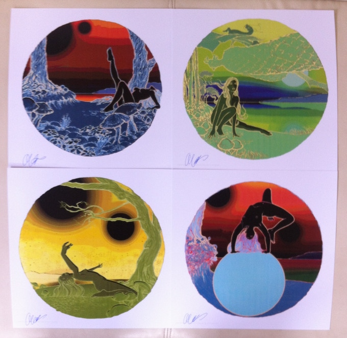 "Set of Four 11"" x 11"" Side Effects negative prints signed by Curvey"