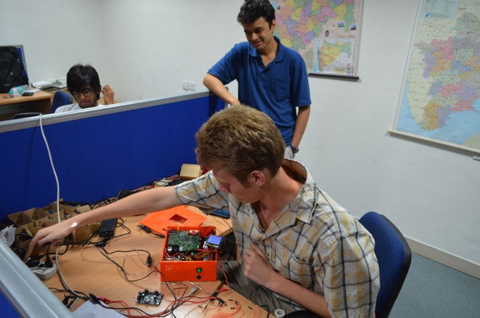 The LumenEd development team built six prototypes in New Delhi last summer