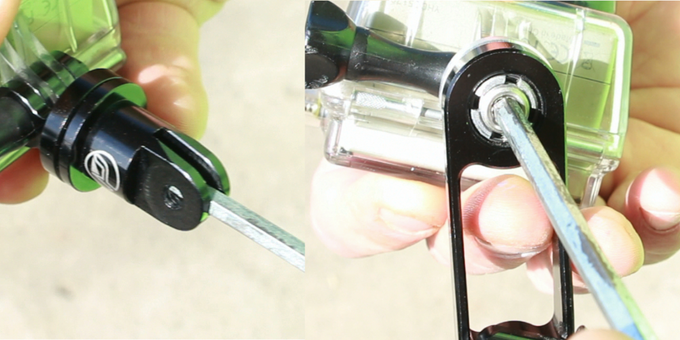 """Adjusting the tension using a 3/16"""" allen wrench."""