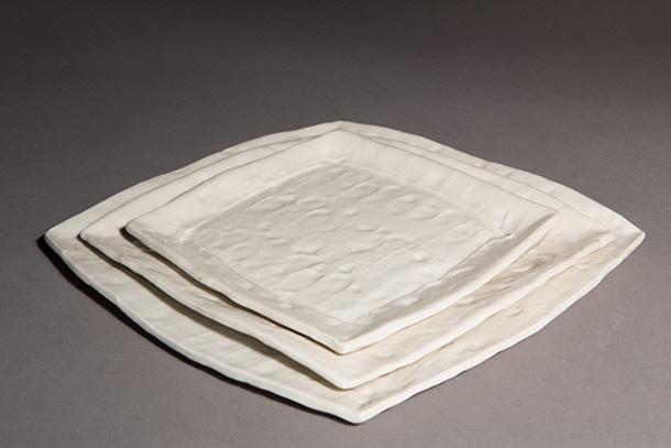 "Scott Parady, 7.5"" White Square Plate $40, 9"" Plate $50, 11"" Plate $60"